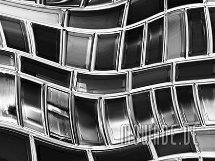 bild-tapete metall-optik schwarz weiss welle mosaik