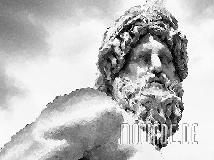 bildtapete schwarz weiss grau statue mosaik