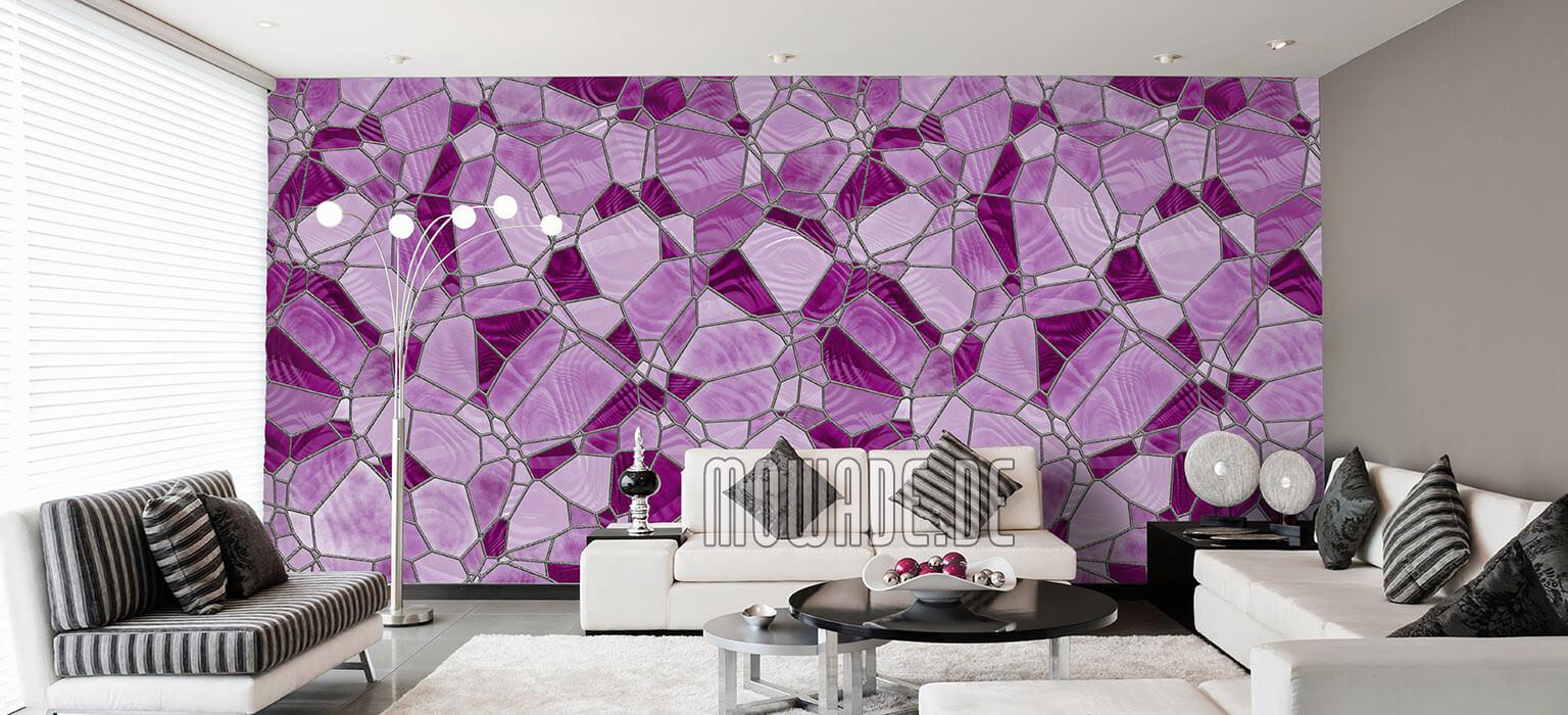 design-tapete mosaik pink rosa wohnzimmer hotel vlies