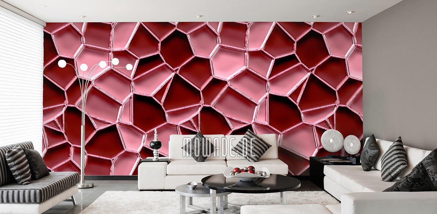 designer fototapete rot mosaik metall-optik waben
