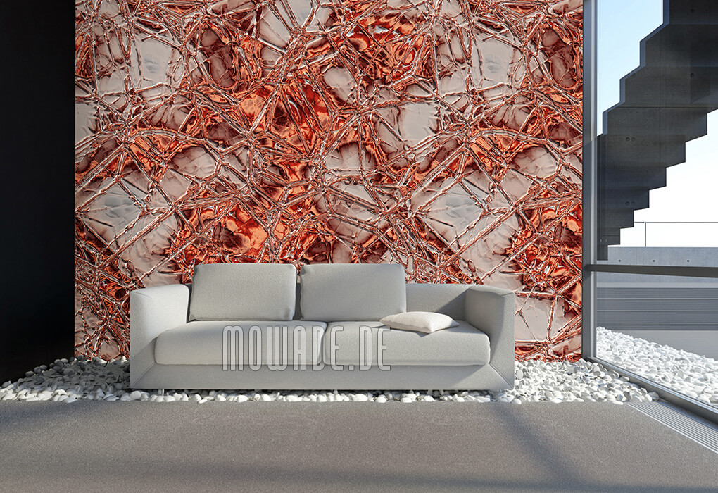 designer-tapete orange grau metall-look lounge wohnzimmer