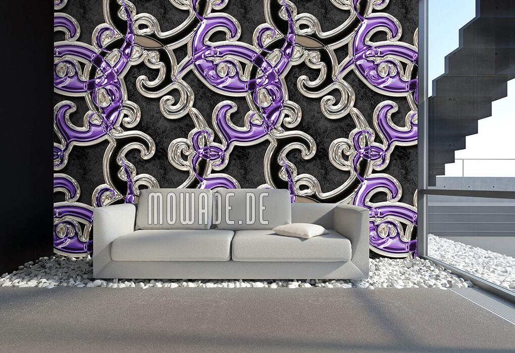 designtapete neo-barock schwarz violett ornament xxl online