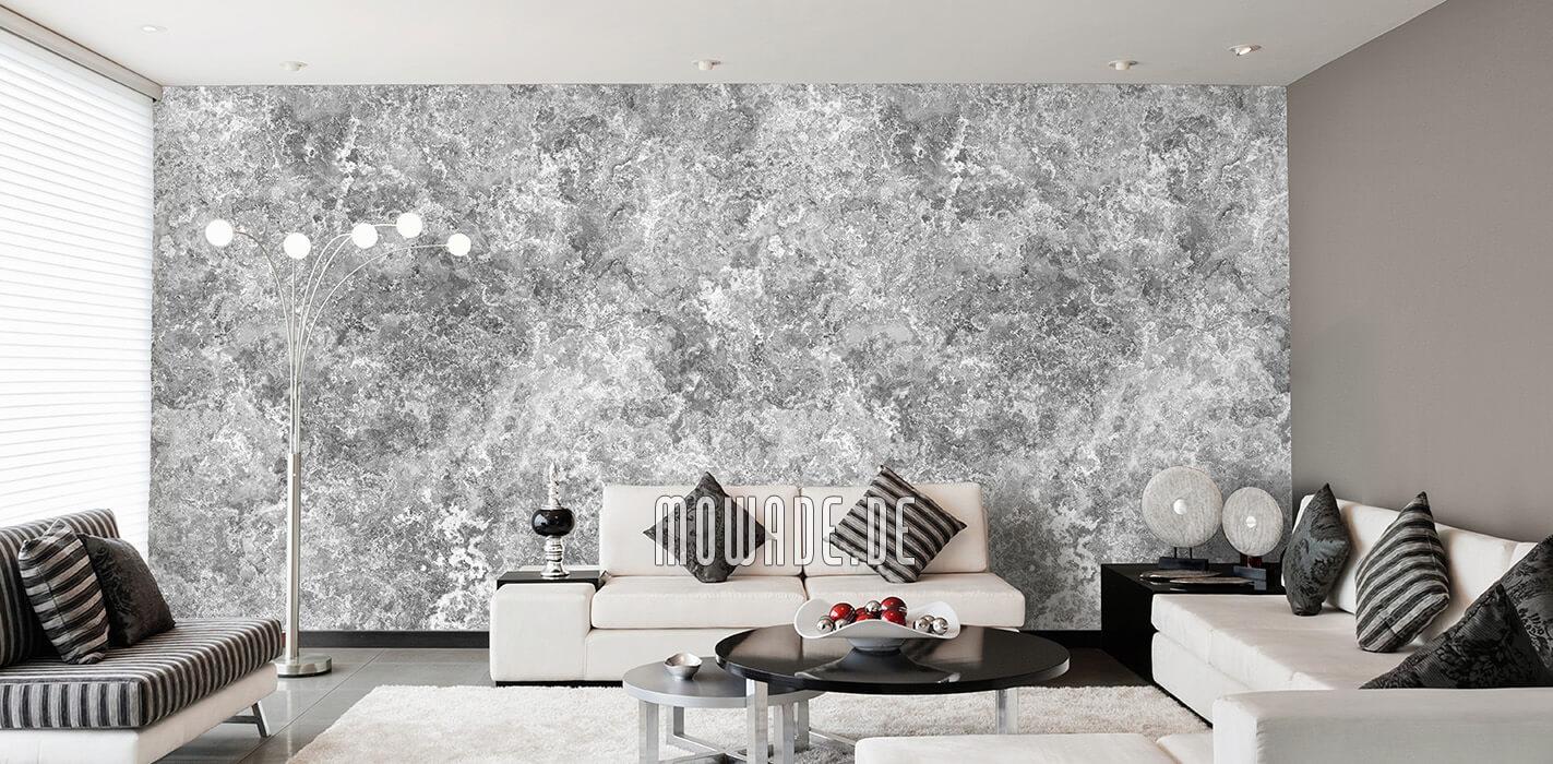 edles tapeten design grau weiss feine erd-stein-struktur wohnzimmer lounge galatea