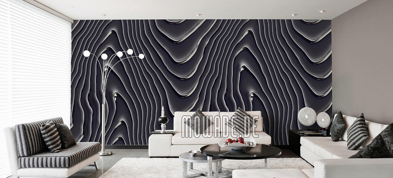 elegante vliestapete schwarz silbergrau wellen-motiv wohnzimmer-lounge