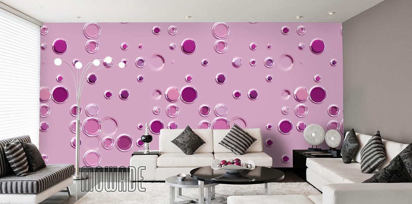 extravagante tapete rosa punkte kreise vlies lounge wohnzimmer-design