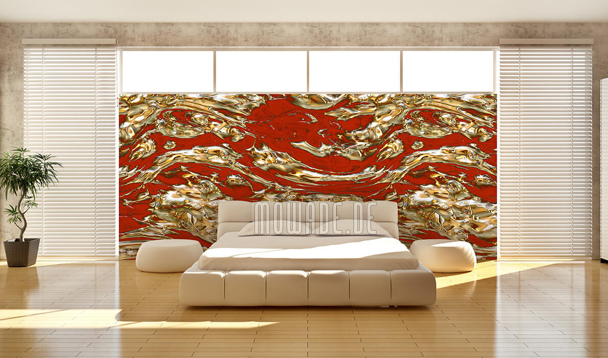fototapete rot gold fluss metall-look