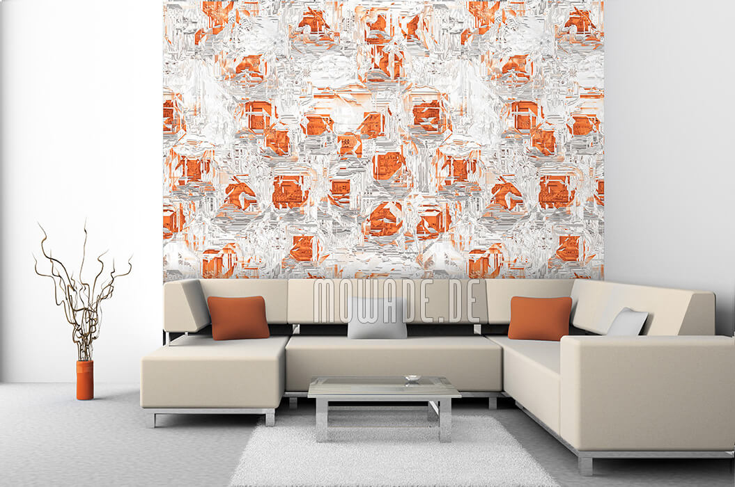interior-design orange weiss tapete bar lounge wohnzimmer moderne abstrakte facetten