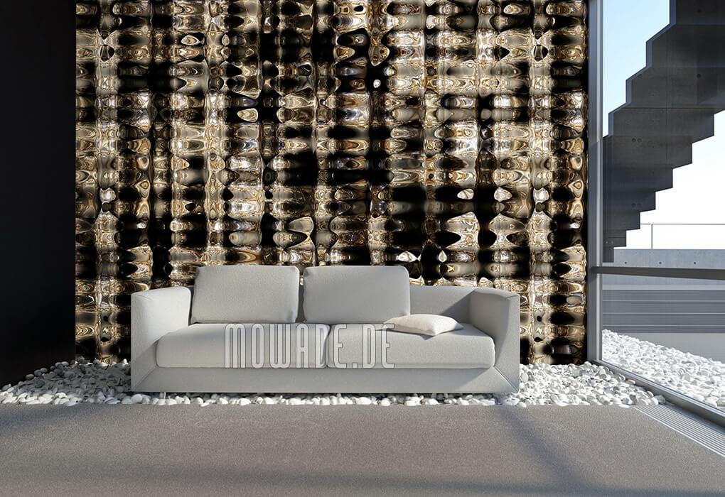 kunst-tapete schwarz gold metall-look lounge wohnzimmer