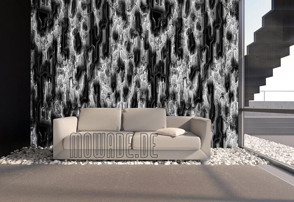 moderne wandgestaltung grau schwarz vliestapete mit metall-optik