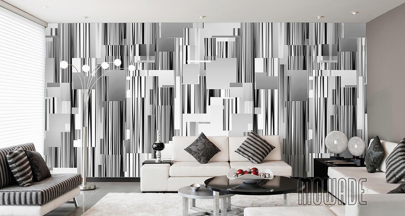 moderne wandgestaltung grau wohnzimmer lounge wandbild abstraktes-stadt-panorama-skyline vlies-tapete