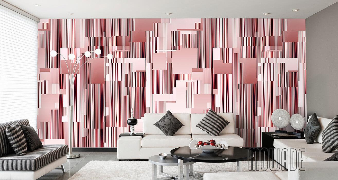 moderne wandgestaltung rot wohnzimmer lounge wandbild abstraktes stadt-panorama skyline vlies-tapete