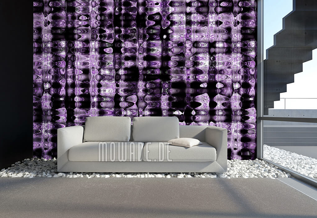 moderne wandgestaltung violett schwarz metall-optik vlies-tapete