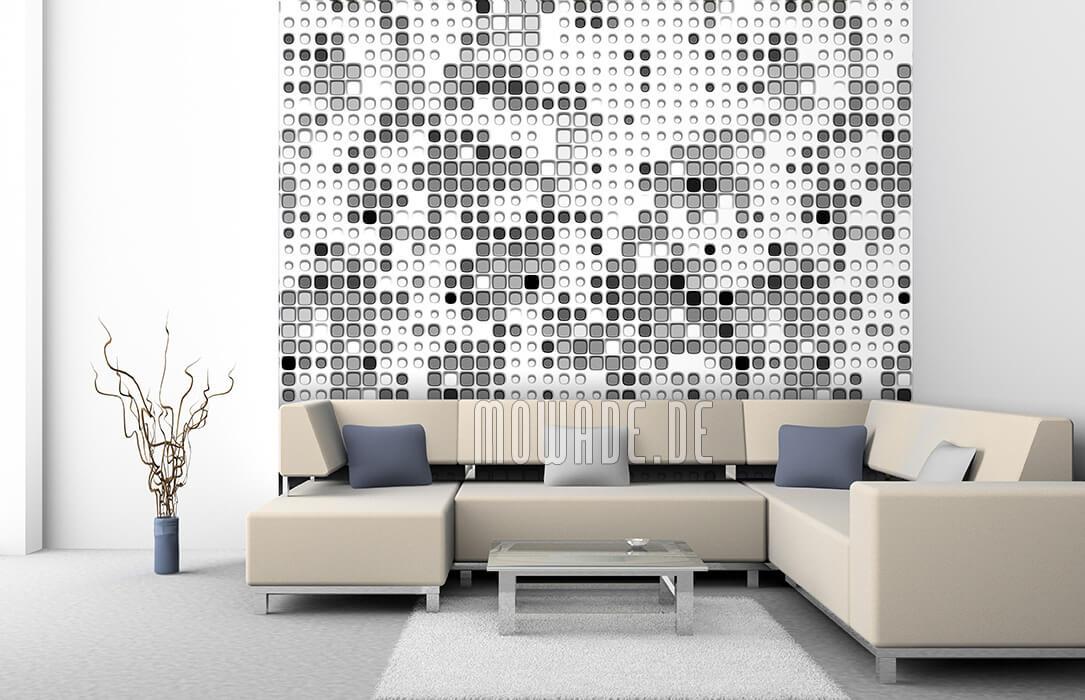 moderner bilder-shop online tapete weiss grau wohnzimmer abstrakte-punkte