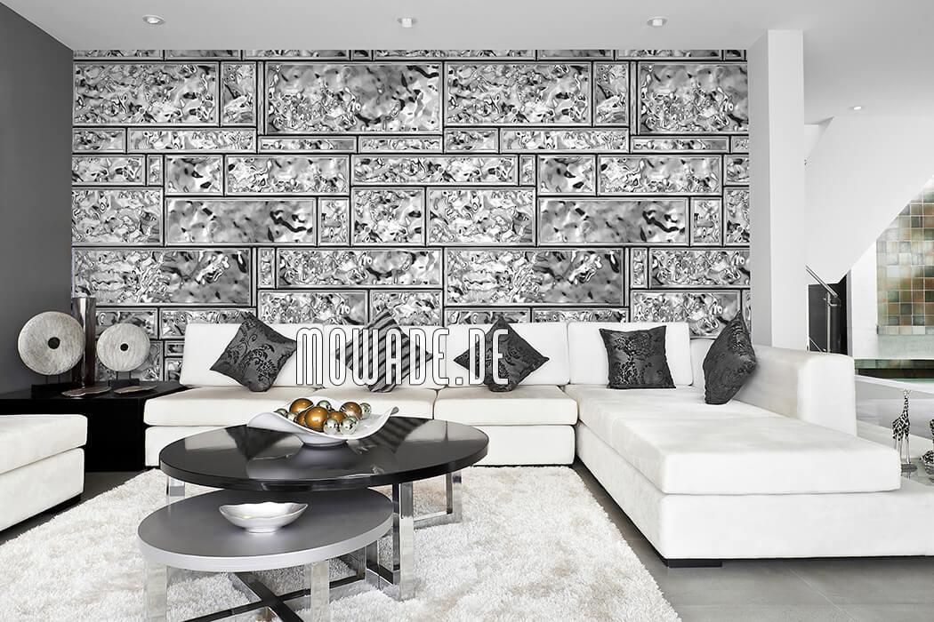 moderner wandbelag silber grau metall optik edle kacheln lounge wohnzimmer