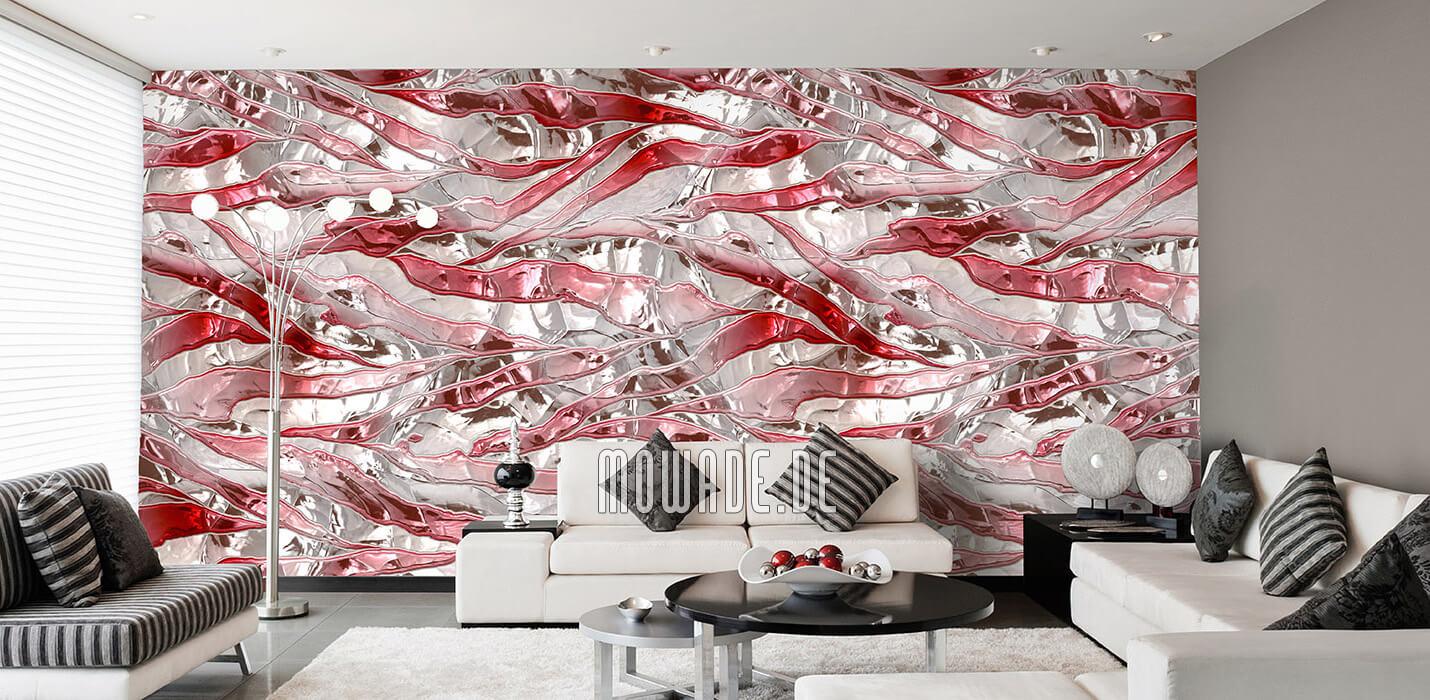 modernes interior-design weiss rot wand-tapete bar lounge wohnzimmer knitterstreifen