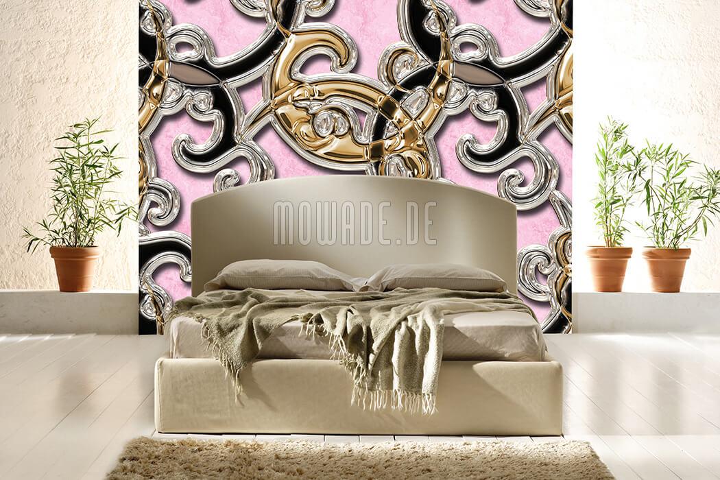 neo-barock fototapete rosa gold schwarz edles ornament xxl