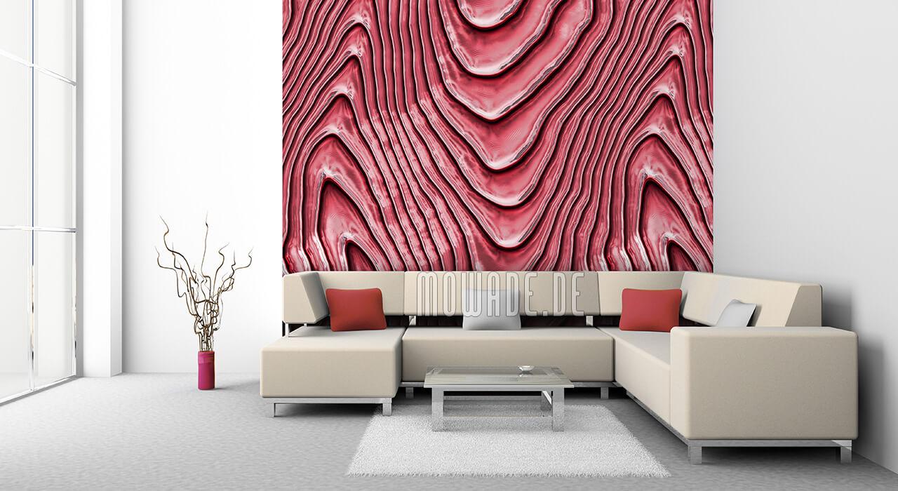schoene tapete rot elegantes wellen motiv wohnzimmer