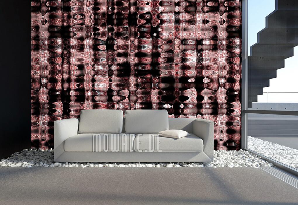 stylische designer-tapete rot schwarz metall-optik wohnzimmer