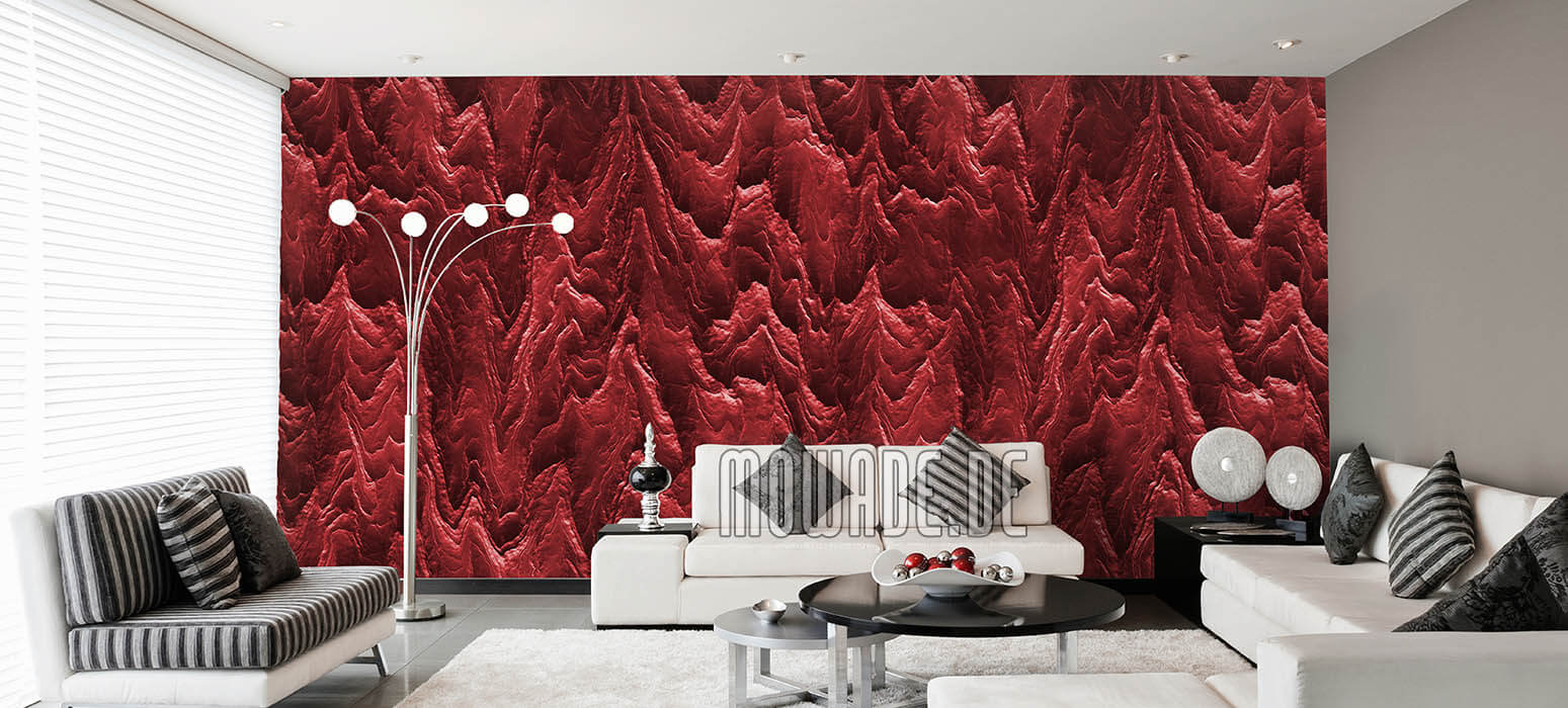 tapete dunkelrot wohnzimmer hotel bar stylisch modern abstrakte berglandschaft