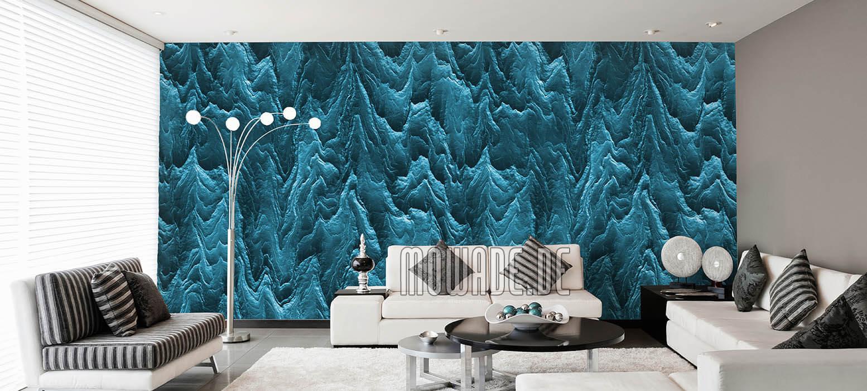 tapete tuerkis wohnzimmer hotel bar stylisch modern abstrakte berglandschaft