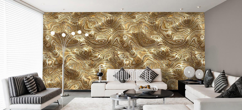 tapeten gold wohnzimmer elegante wellen huegel