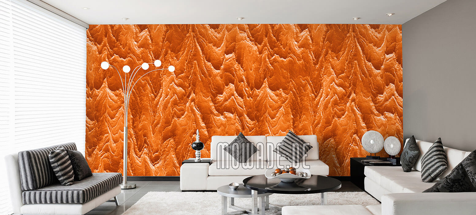 tapeten orange wohnzimmer hotel bar stylisch modern abstrakte berglandschaft
