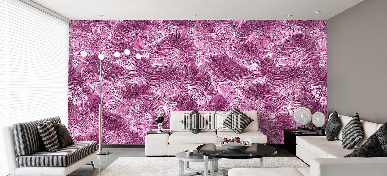 tapeten rosa wohnzimmer elegante wellen-huegel