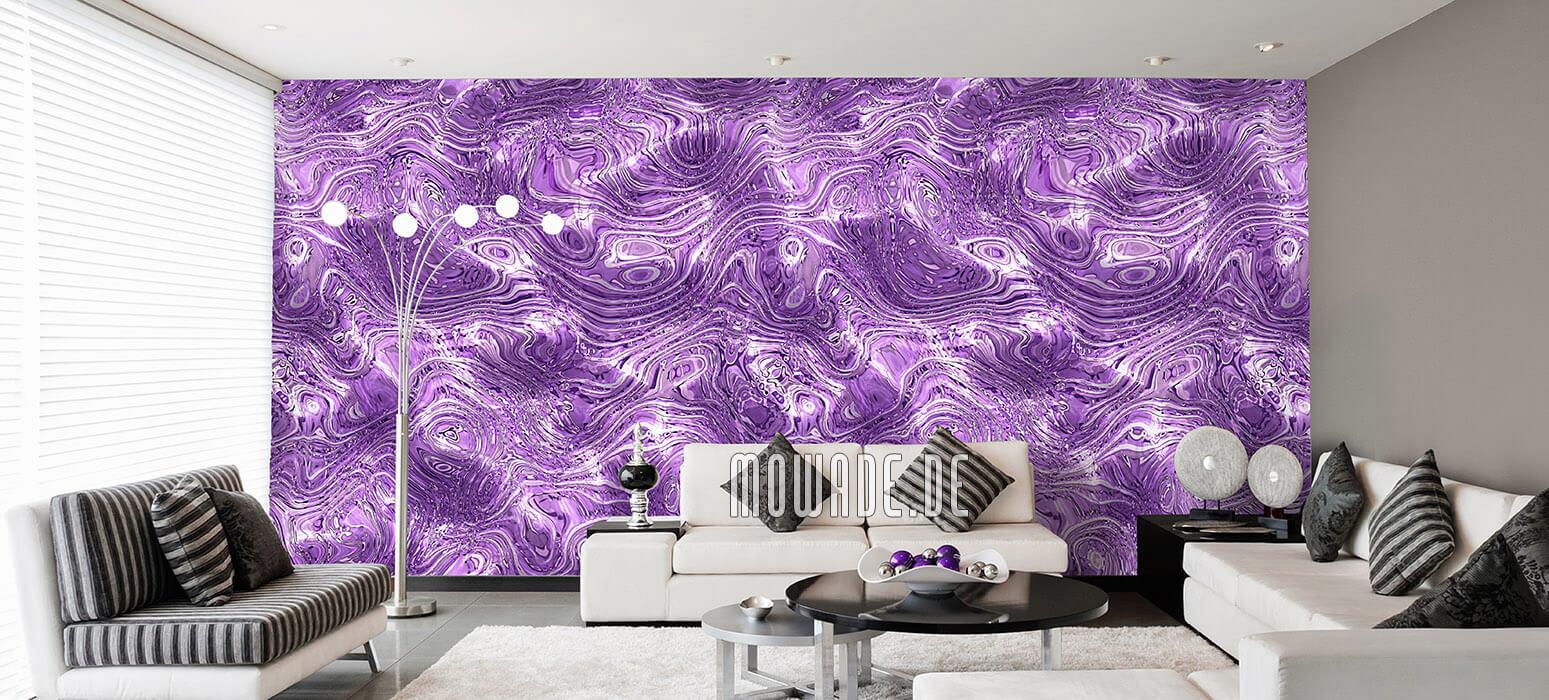 tapeten violett wohnzimmer elegante wellen-huegel