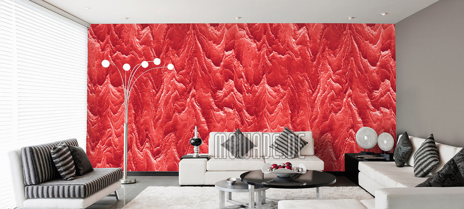 tapeten zinnober rot wohnzimmer hotel bar stylisch modern abstrakte berglandschaft