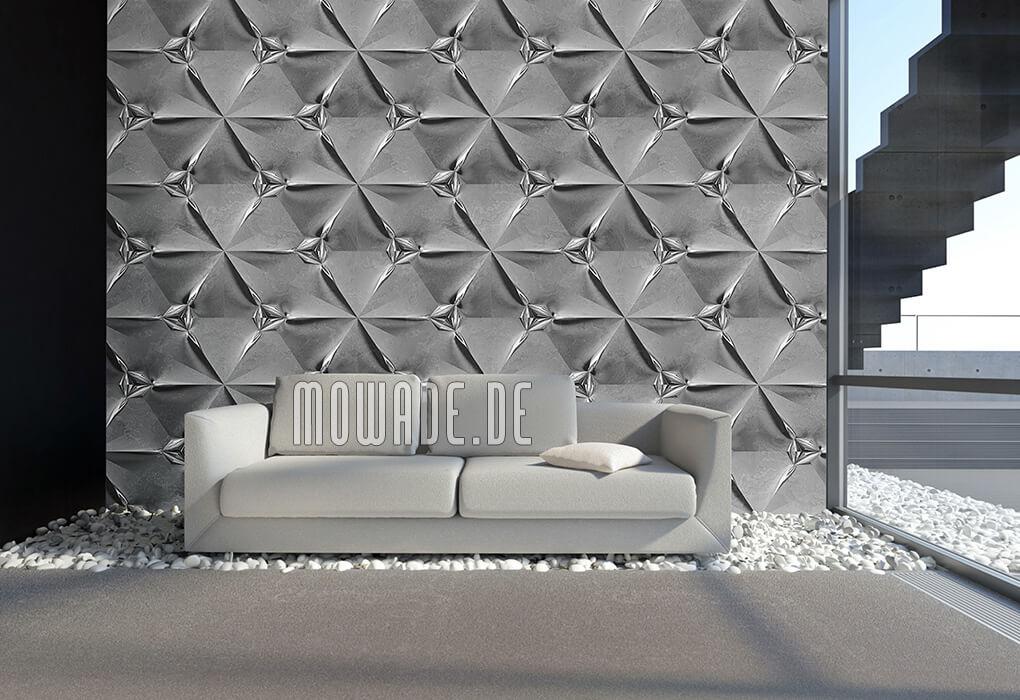 tapetendesign grau silber wohnzimmer geometrisches muster