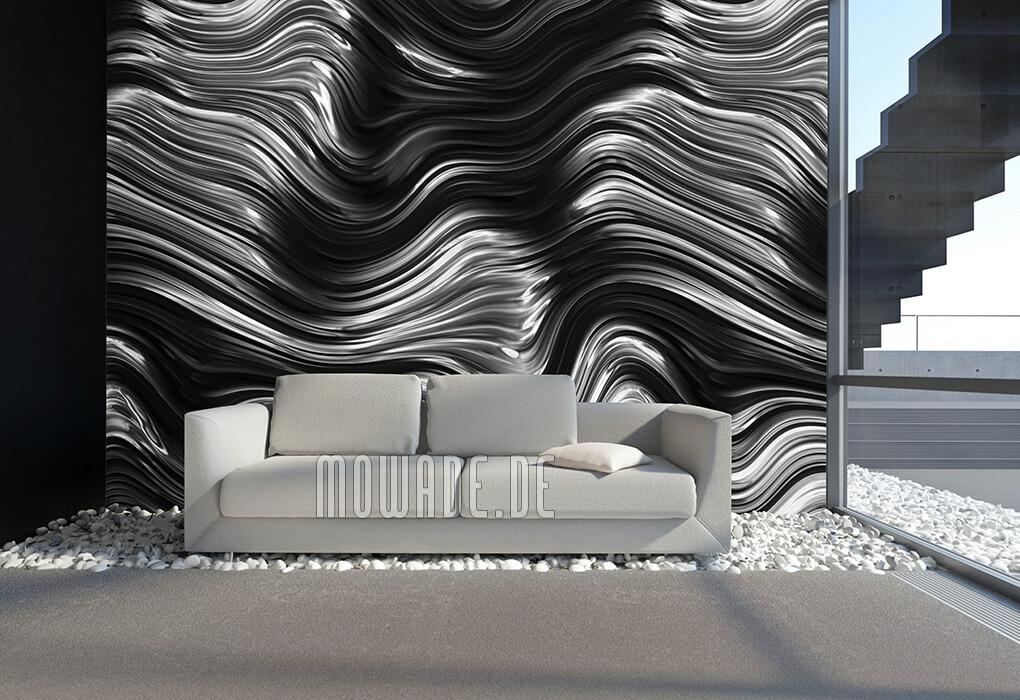 tapetendesign silber schwarz wellen metall-optik vlies wohnzimmer-lounge