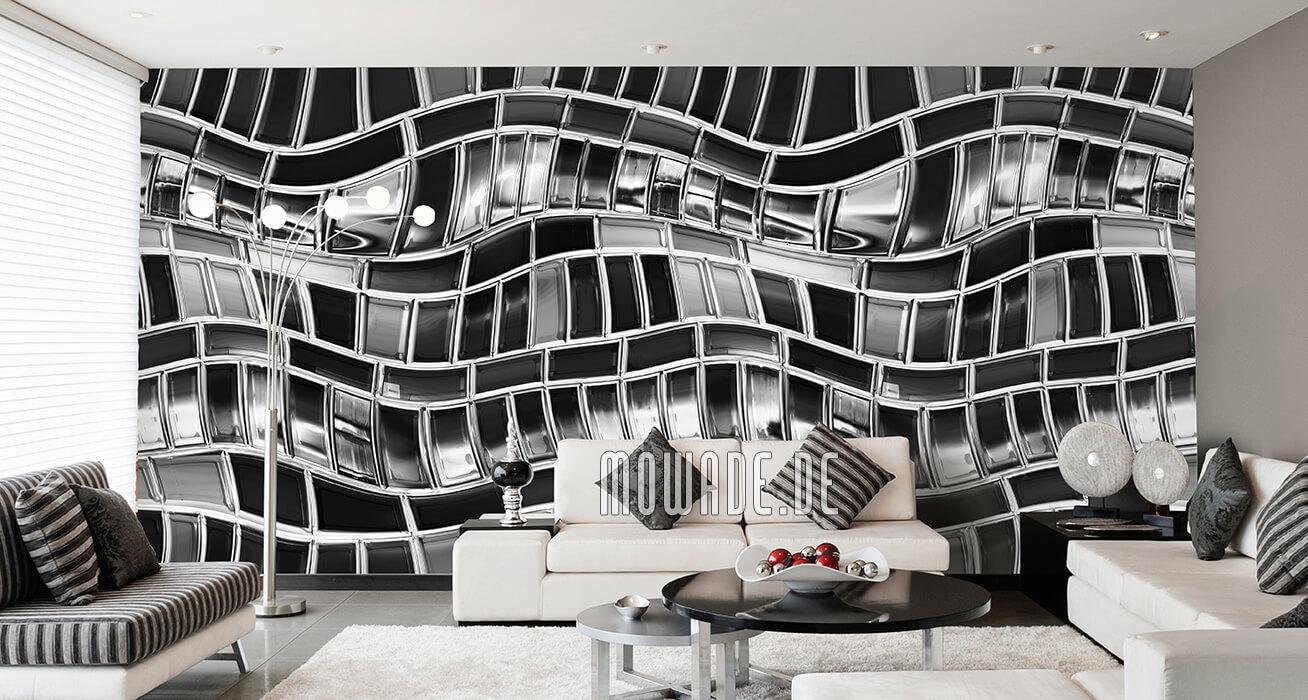 tapetenshop online grau schwarz weiss vlies welle mosaik