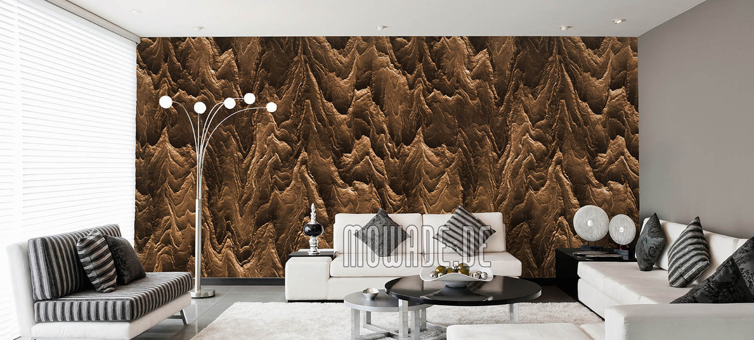 vliestapete braun wohnzimmer hotel exklusiv modern abstrakte berglandschaft