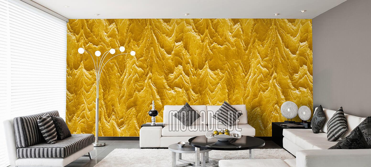 vliestapete gelb wohnzimmer hotel exklusiv modern abstrakte berglandschaft