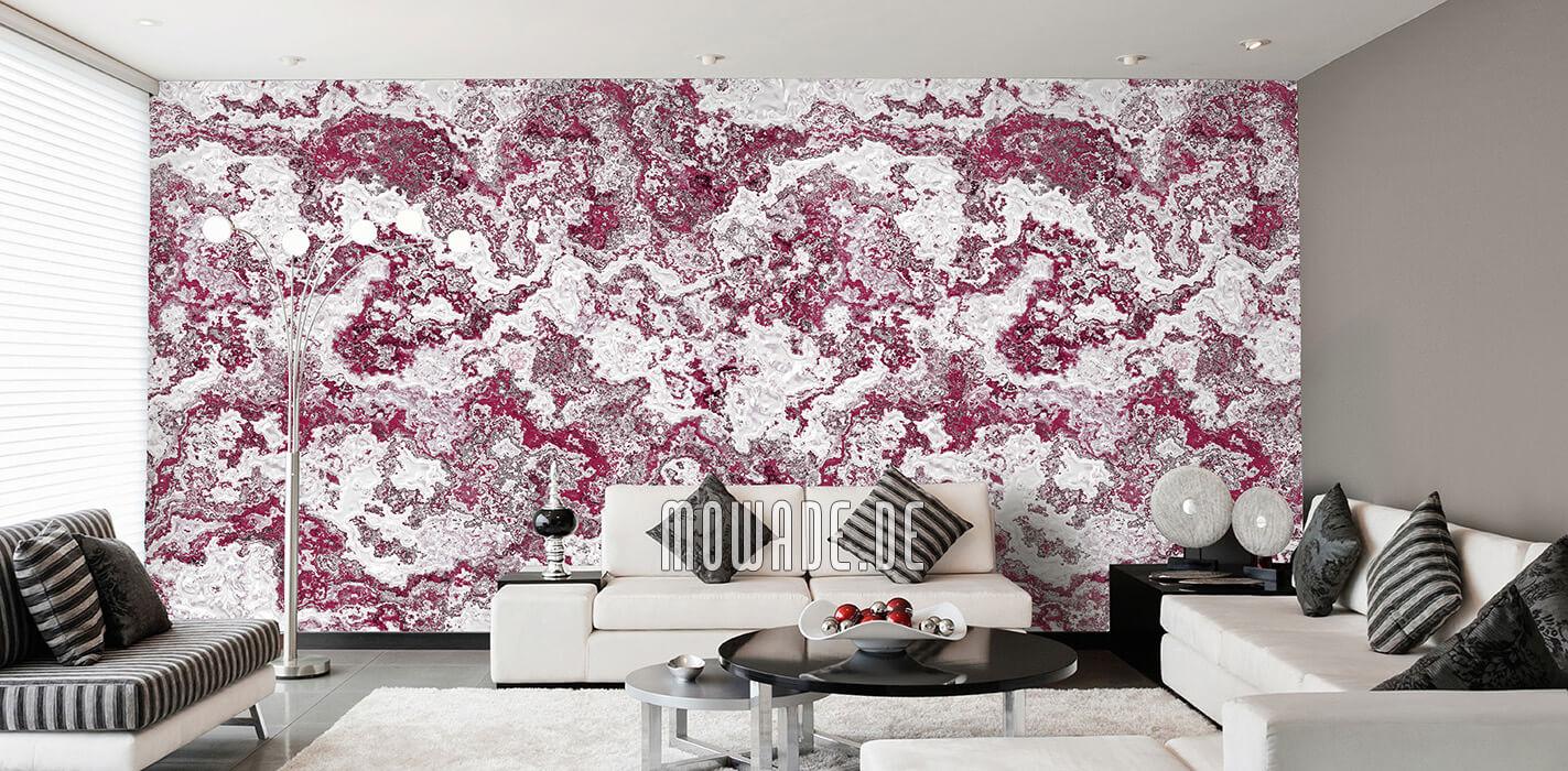 vliestapete rot weiss moderne erd-stein-struktur