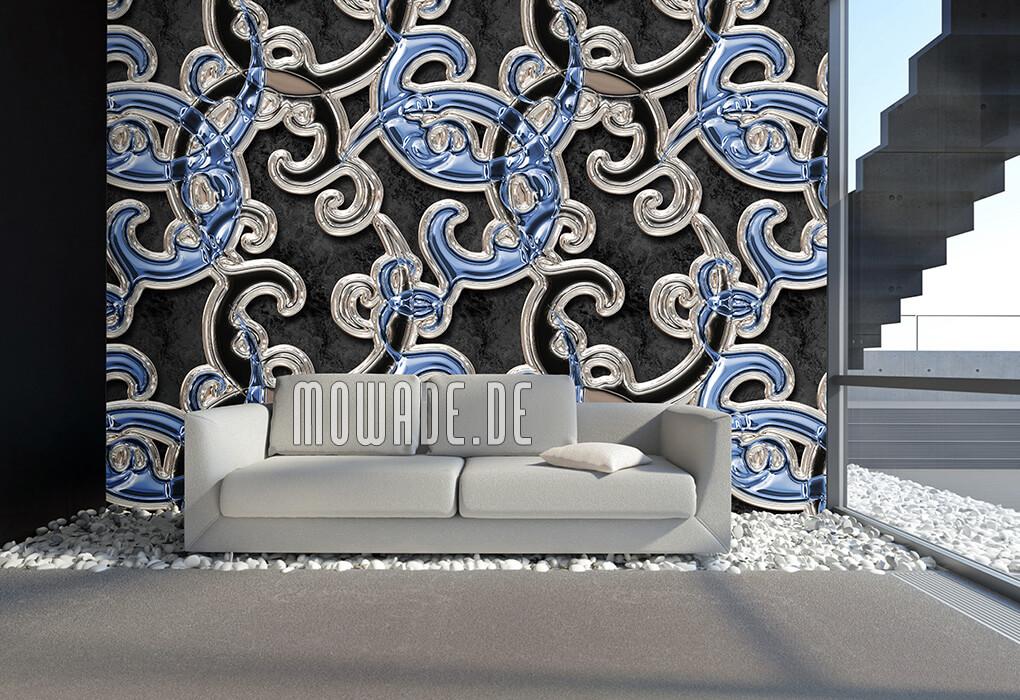 vliestapete schwarz blau ornament xxl online-shop