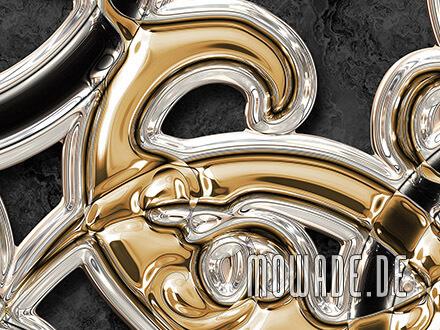vliestapete schwarz gold neo-barock metall-ornament
