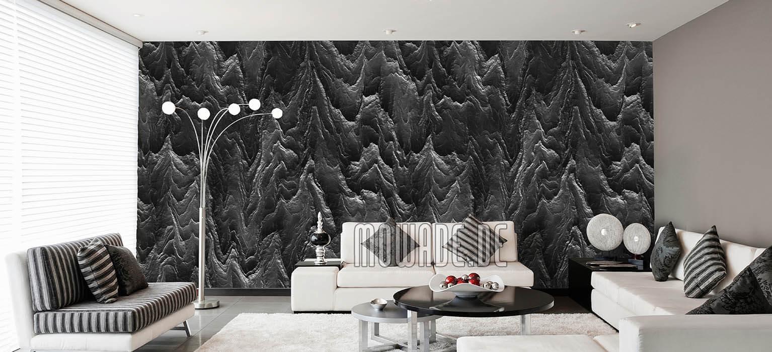 vliestapete schwarz wohnzimmer hotel exklusiv modern abstrakte berglandschaft