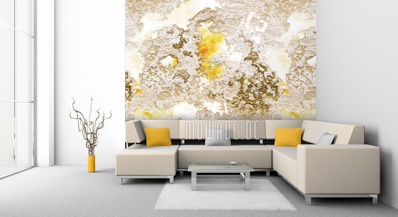 wand-design weiss-gelb putzstruktur vliestapete