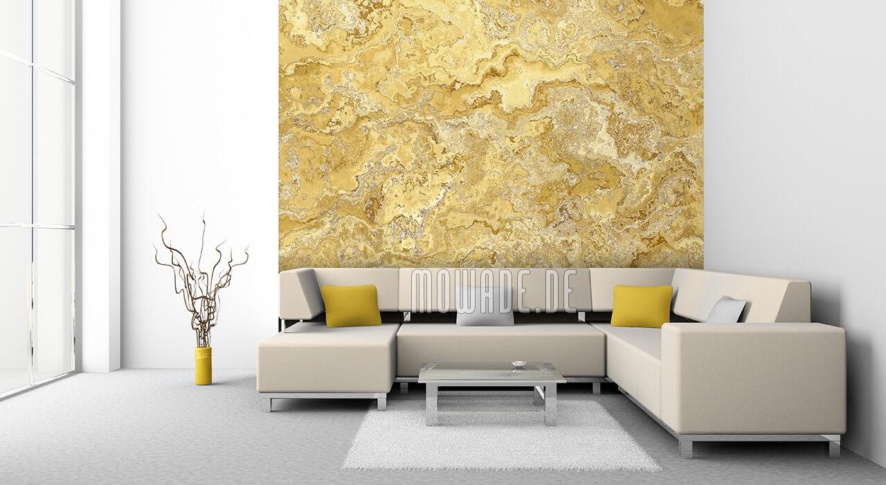 wandbelag gelb erd-stein-struktur wohnzimmer bar vliestapete