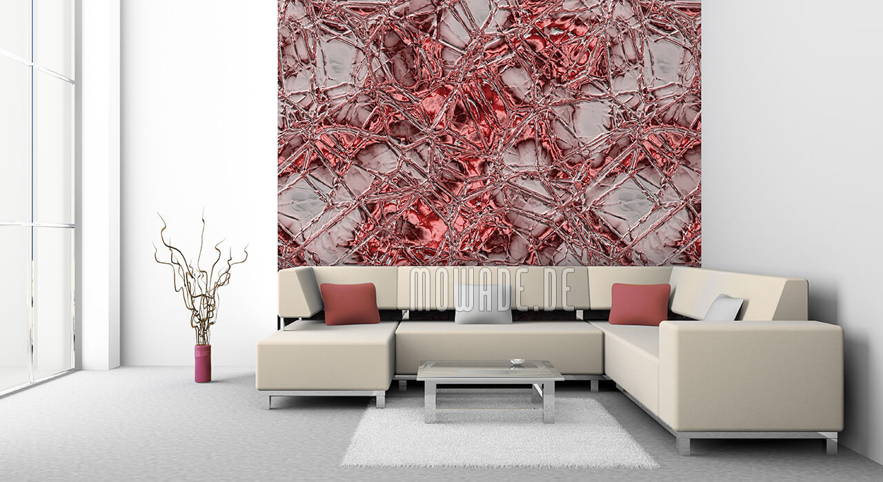 wandbelag rot grau metall look vliestapete