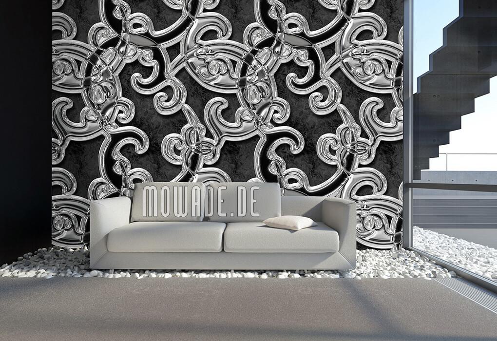 wandbild xxl ornament schwarz silber vliestapete metall-optik
