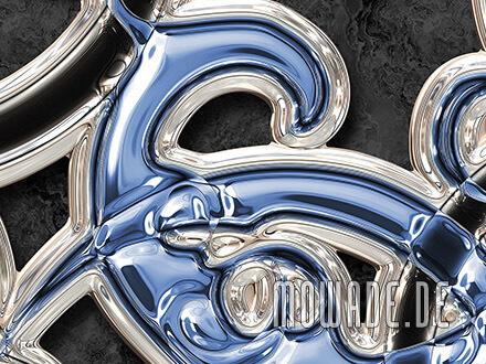 wandgestaltung blau schwarz neo-barock metall-optik ornament