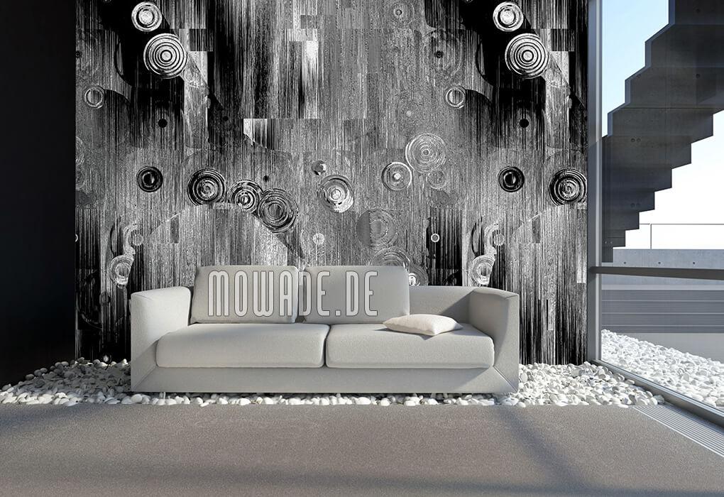 wandgestaltung kunst grau schwarz bild tapete schwebende kreise