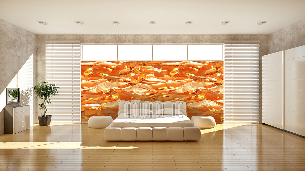 wandgestaltung orange vliestapete knitter crush optik wohnzimmer