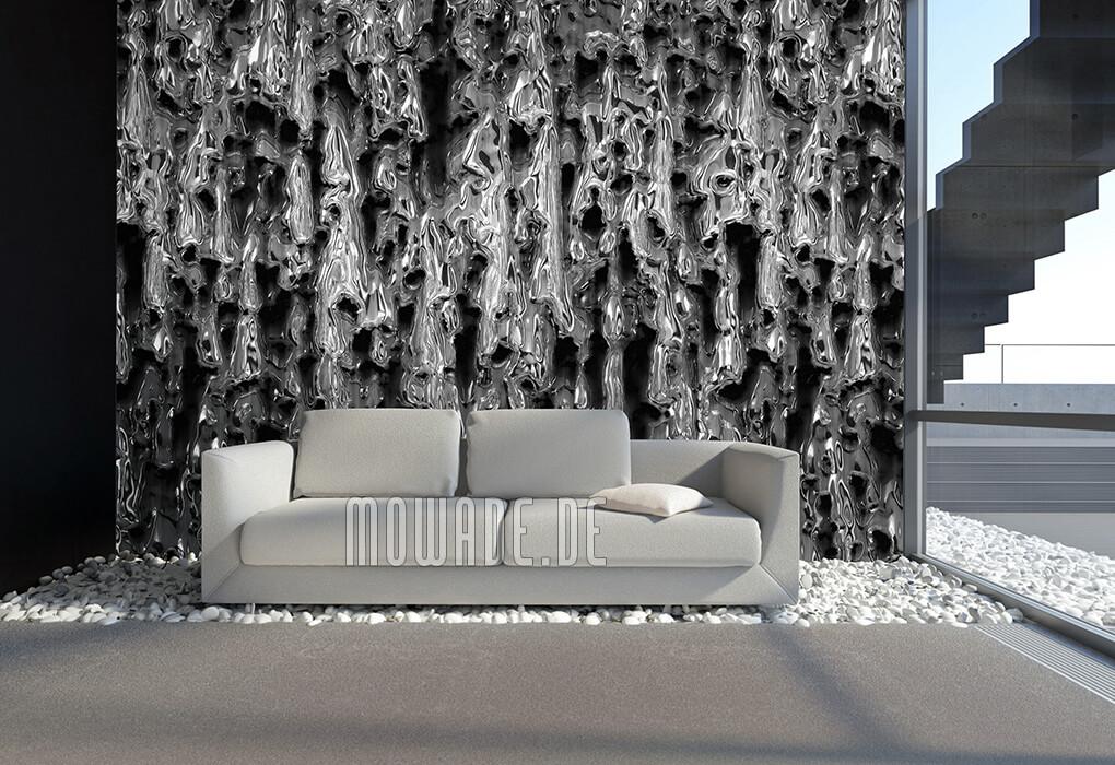 wandgestaltung rost tapete schwarz silber schmelzendes metall bild