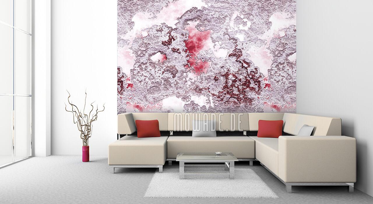 wandgestaltung rot weiss struktur bild tapete wohnzimmer