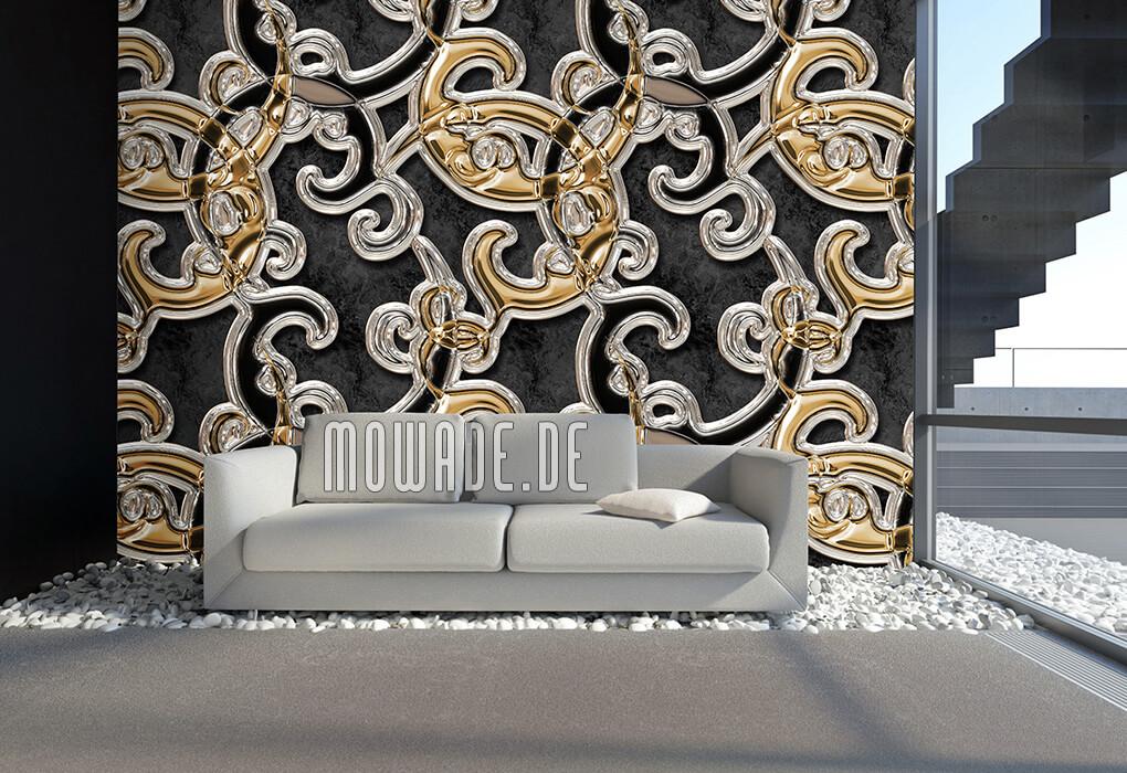 wandgestaltung schwarz gold ornament xxl vliestapete hotel wohnzimmer