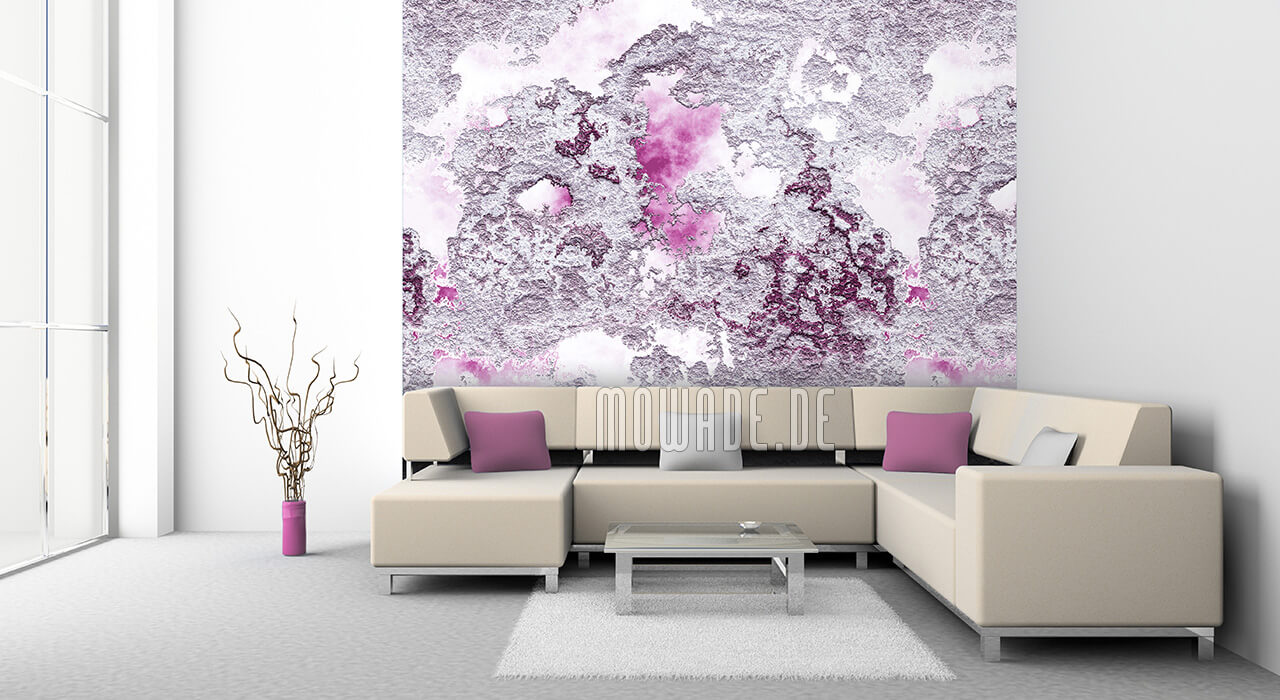 wandgestaltung wohnzimmer pink weiss struktur bild-tapete online