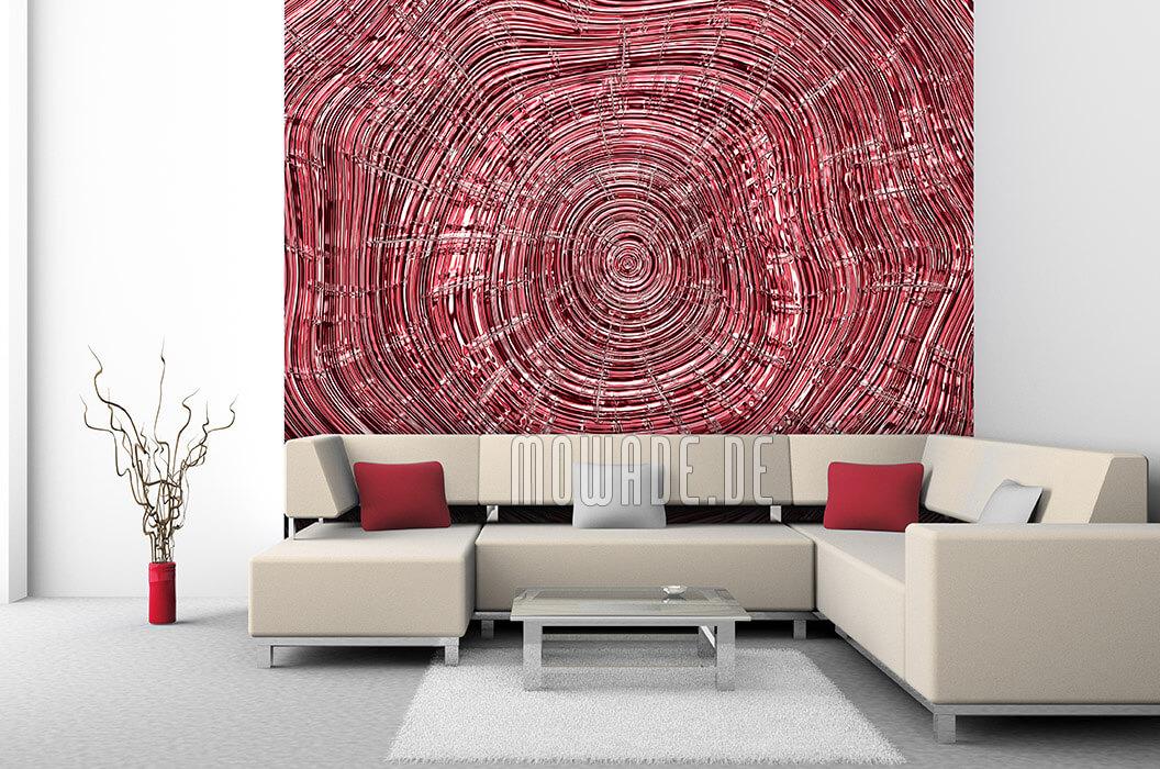 wandmotiv rot baumscheibe holzoptik tapete schlaf-wohn-zimmer
